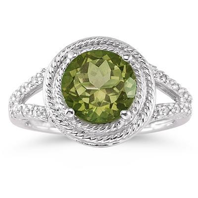 Peridot and Diamond Ring in 10K White Gold