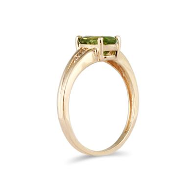 1.20ct Oval Cut Peridot & Diamond Ring in Yellow Gold