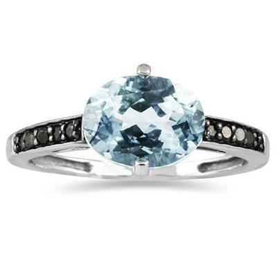 Aquamarine and Black Diamond Ring in 10K White Gold