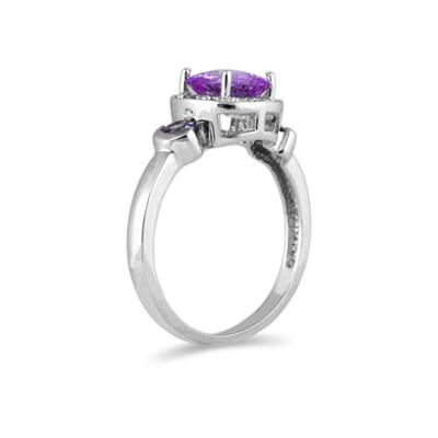 Cushion Cut Amethyst & Tanzanite and Diamond 10k White Gold Ring