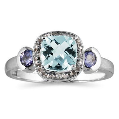 Cushion Cut Aquamarine & Tanzanite and Diamond 10k White Gold Ring