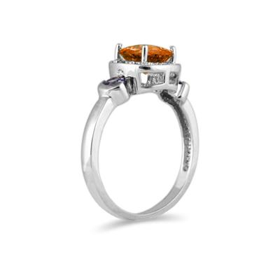 Cushion Cut Citrine & Tanzanite and Diamond 10k White Gold Ring