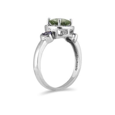 Cushion Cut Green Amethyst & Tanzanite and Diamond 10k White Gold Ring