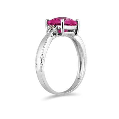 Cushion Cut Pink Topaz & Tanzanite and Diamond 10k White Gold Ring