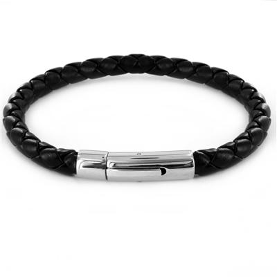 Simulated Black Leather Bracelet with Stainless Steel Hinge Clasp
