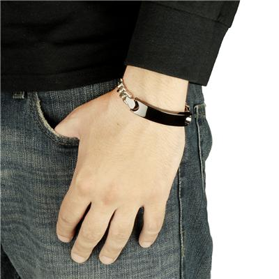 Stainless Steel Chain Bracelet with Black ID Plate