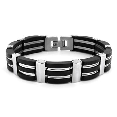 Stainless Steel Black Rubber Polished Bracelet