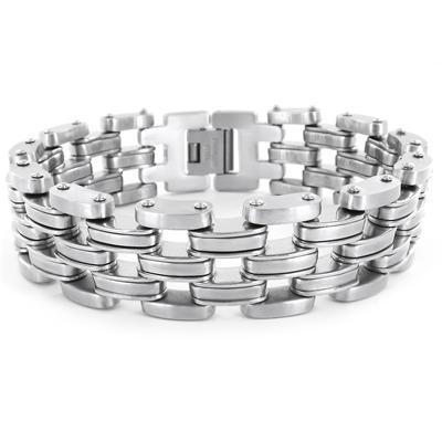 Stainless Steel Wide Mens Link Bracelet
