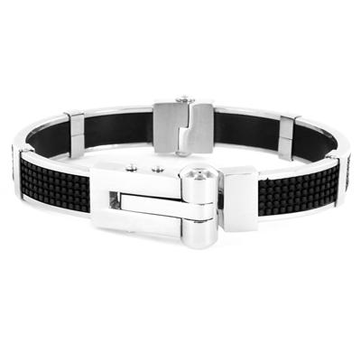 Stainless Steel Black Rubber with Textured Design Bracelet