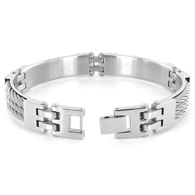 Stainless Steel Triple Cable Link Bracelet (11mm) - 8.75 Inch