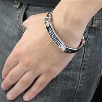 Stainless Steel Greek Key Pattern Enamel Link Bracelet