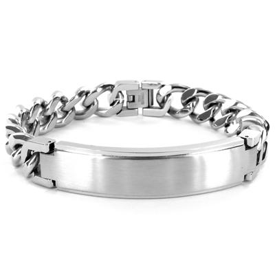 Stainless Steel ID Bracelet (14mm) with Curb Chain - 8.5 Inches