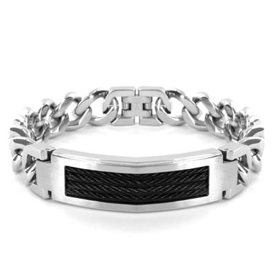 Stainless Steel Bracelet with Black Cable Inlay on Curb Chain - 9 Inch