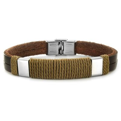 Stainless Steel and Leather Mens Rope Detail Bracelet