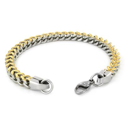 Stainless Steel Mens Two-Tone Goldplated Franco Box Chain Bracelet