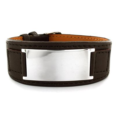 Stainless Steel and Brown Leather Mens Engraveable Plate Bracelet