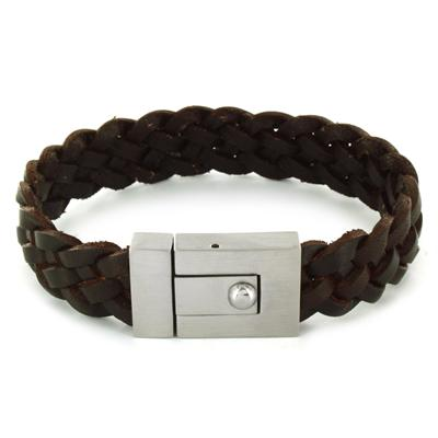 Stainless Steel and Brown Leather Mens Woven Bracelet