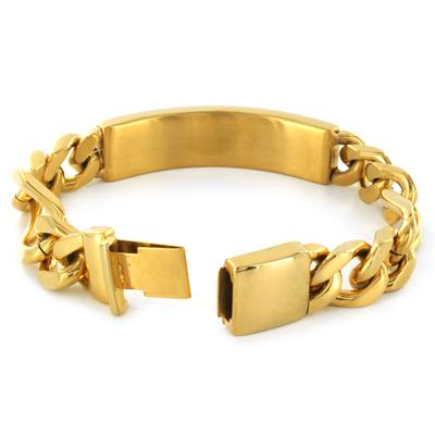 Mens Engraveable Gold Plated Stainless Steel ID Bracelet with Hidden Clasp