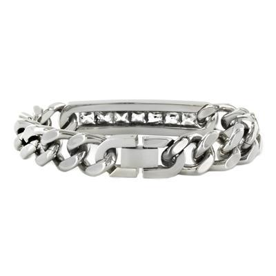 Stainless Steel Cubic Zirconia ID Bracelet