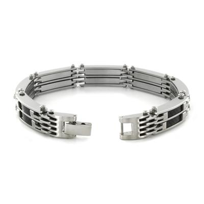 Stainless Steel Mens Link Bracelet with Black Carbon Fiber Inlay