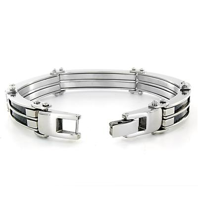 Stainless Steel Mens Cable and Black Carbon Fiber Bracelet