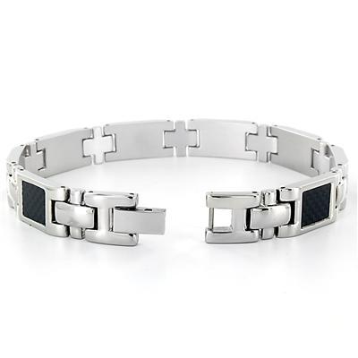 Titanium Mens Square Black Carbon Fiber Bracelet