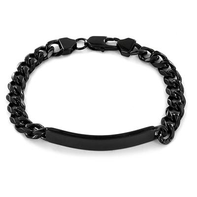 Stainless Steel Black-plated ID Bracelet
