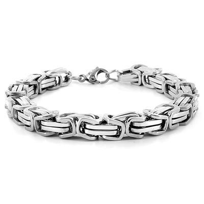 Stainless Steel Byzantine Mens Bracelet - White