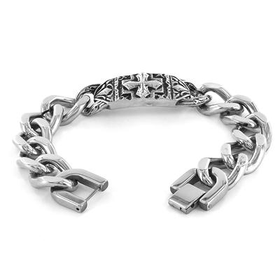 Stainless Steel Ornate Gothic Cross Plate Link Bracelet