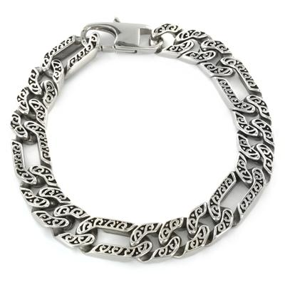 Stainless Steel Mens Etched Figaro Bracelet
