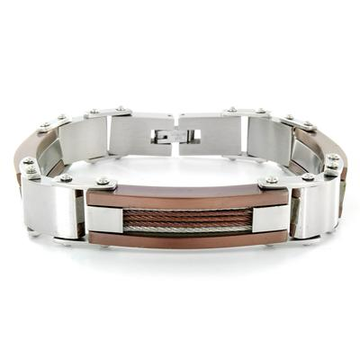 Stainless Steel Mens Copper Cable and Link Bracelet