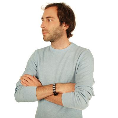 Tungsten Black and Silvertone Link Mens Bracelet