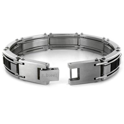 Stainless Steel Black Carbon Fiber and Mesh Link Mens Bracelet