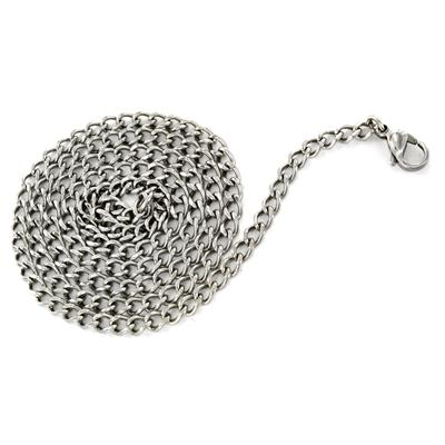 24 Inch 3.8mm Stainless Steel Flat Curb Chain With Lobster Clasp