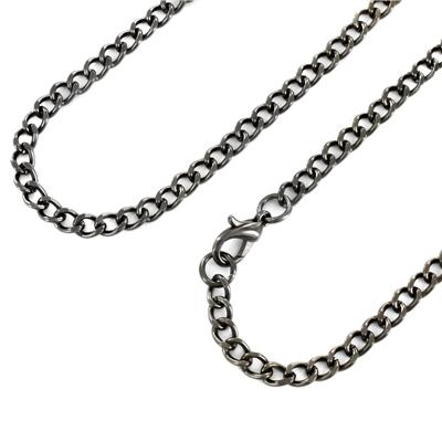 24 Inch Long, 3.8mm Wide Black Plated Stainless Steel Curb Chain With Lobster Clasp