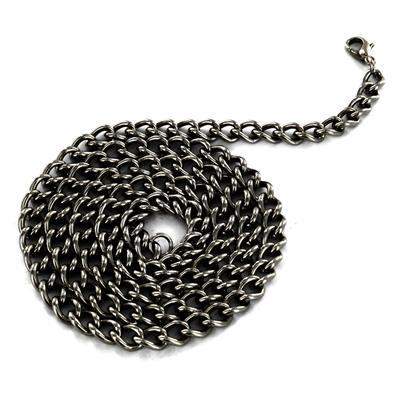 24 Inch Long, 6mm Wide Black Stainless Steel Curb Chain With Lobster Clasp