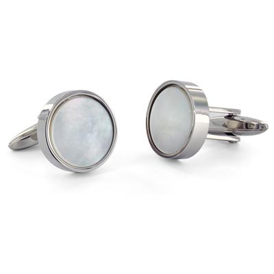 Round Stainless Steel with White Mother of Pearl Cuff Links