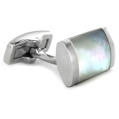 Stainless Steel White Mother of Pearl Inlay Rectangular Cuff Links