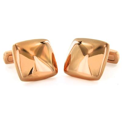 Stainless Steel Square Pink Gold Plated Cuff Links