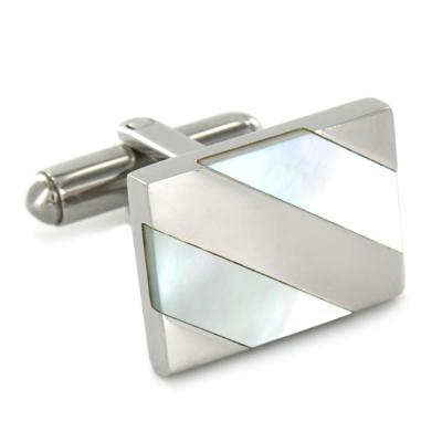 Stainless Steel Cufflinks with White Mother of Pearl Shell Inlay