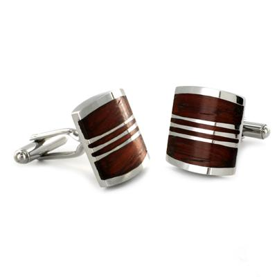 Stainless Steel Red Wood Cuff Links