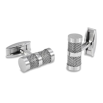 Stainless Steel and Mesh Inlay Barrel Shaped Cuff Links