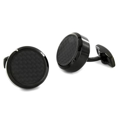 Stainless Steel Black and Black Carbon Fiber Inlay Oversized Cufflinks