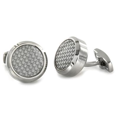 Stainless Steel with White and White Carbon Fiber Inlay Oversized Cufflinks