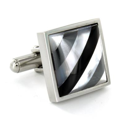 Stainless Steel with Steel Shell and Onyx Inlay Cuff Links