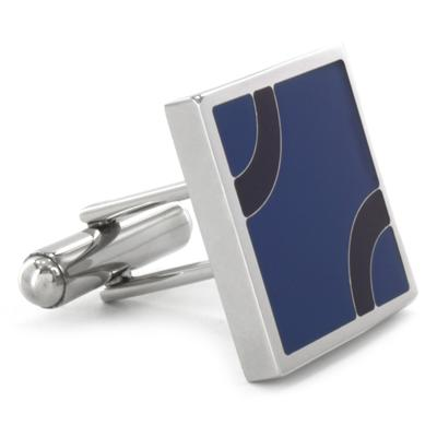 Stainless Steel Blue and Black Patterned Cufflinks - Blue with Black Arcs