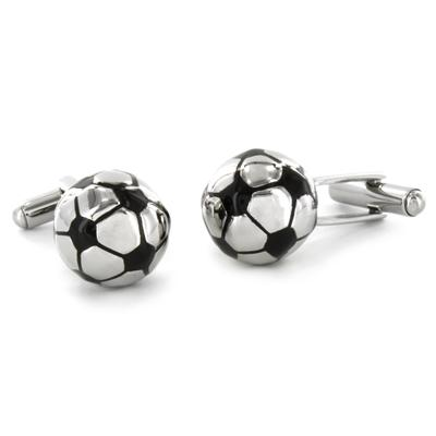 Stainless Steel Round Soccer Ball Cuff Links