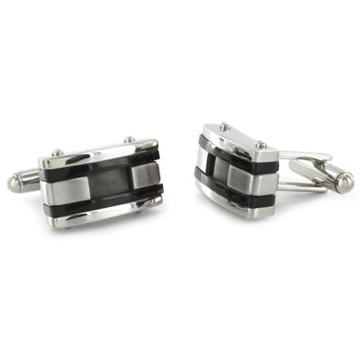 Stainless Steel Colored Inlay and Black Racing Stripe Cuff Links - Black