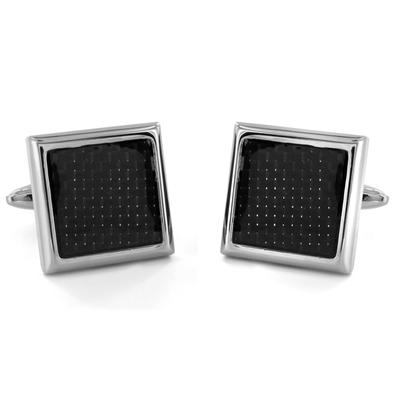Square Stainless Steel with Carbon Fiber Inlay Cuff Links
