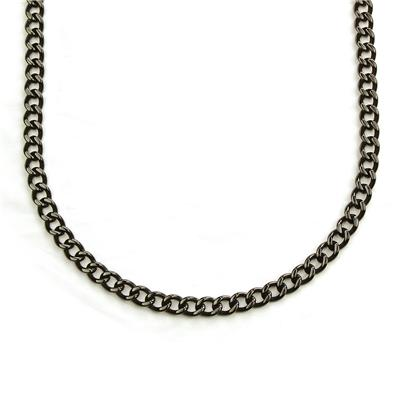 "24"" Blackplated Stainless Steel Heavy Curb Link Chain Necklace"
